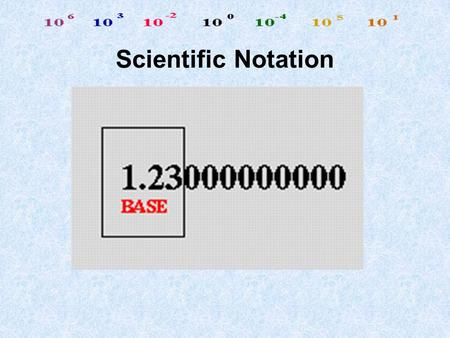 Scientific Notation Do you know this number, 300,000,000 m/sec.? It's the Speed of light ! Do you recognize this number, 0.000 000 000 753 kg. This is.