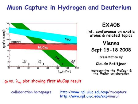 Muon Capture in Hydrogen and Deuterium EXA08 int. conference on exotic atoms & related topics Vienna Sept 15-18 2008 presentation by Claude Petitjean representing.