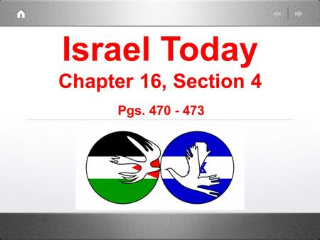 Israel Today Chapter 16, Section 4 Pgs. 470 - 473.