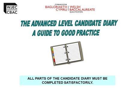 ALL PARTS OF THE CANDIDATE DIARY MUST BE COMPLETED SATISFACTORILY.