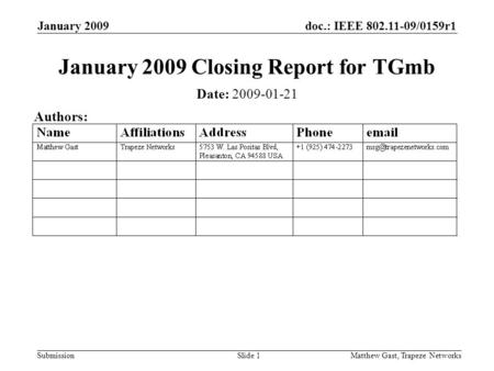 Doc.: IEEE 802.11-09/0159r1 Submission January 2009 Matthew Gast, Trapeze NetworksSlide 1 January 2009 Closing Report for TGmb Date: 2009-01-21 Authors: