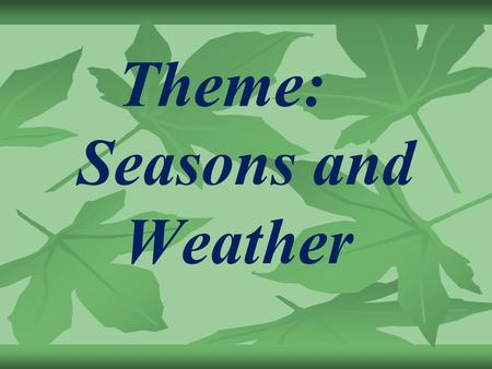 Theme: Seasons and Weather. What is the weather like in different seasons? Form adjectives from the nouns to answer this question ( as in the model.
