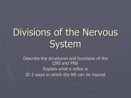 Divisions of the Nervous System Describe the structures and functions of the CNS and PNS Explain what a reflex is ID 2 ways in which the NS can be injured.