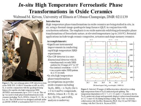 In-situ High Temperature Ferroelastic Phase Transformations in Oxide Ceramics Waltraud M. Kriven, University of Illinois at Urbana-Champaign, DMR 0211139.