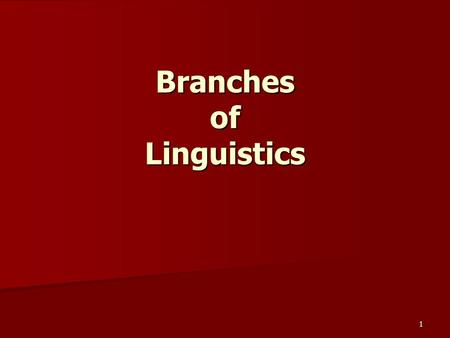 1 Branches of Linguistics. 2 Branches of linguistics Linguists are engaged in a multiplicity of studies, some of which bear little direct relationship.