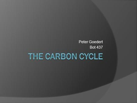 Peter Goedert Bot 437. The processes that influence the carbon cycle Photosynthesis: CO 2 is taken in and fixed during the calvin cycle energy (sunlight)