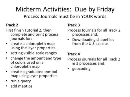 Midterm Activities: Due by Friday Process Journals must be in YOUR words Track 2 First finish Tutorial 2, then complete and print process journals for: