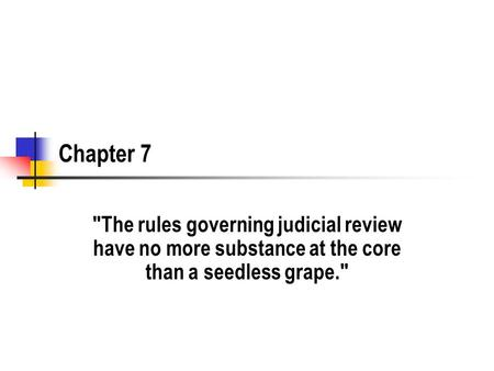 Chapter 7 The rules governing judicial review have no more substance at the core than a seedless grape.
