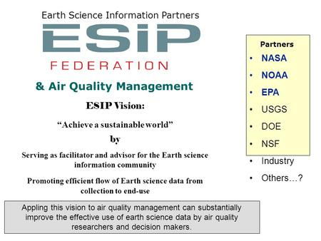 "ESIP Vision: ""Achieve a sustainable world"" by Serving as facilitator and advisor for the Earth science information community Promoting efficient flow of."