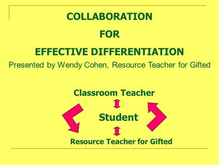 COLLABORATION FOR EFFECTIVE DIFFERENTIATION Classroom Teacher Resource Teacher for Gifted Student Presented by Wendy Cohen, Resource Teacher for Gifted.