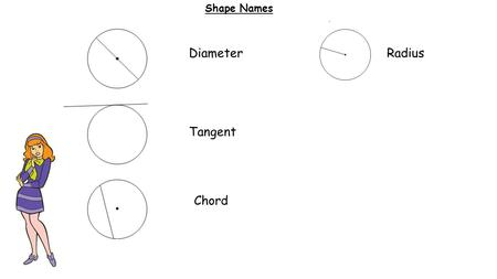 Shape Names Diameter Tangent Chord Radius. Line Names Perpendicular means 90 0 Parallel means never touches.