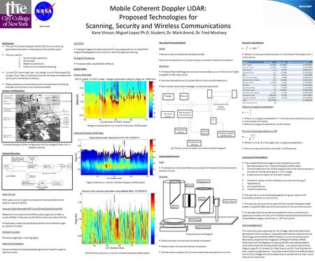Mobile Coherent Doppler LIDAR: Proposed Technologies for Scanning, Security and Wireless <strong>Communications</strong> GSFC at GISS Motivation:  The use of Coherent.
