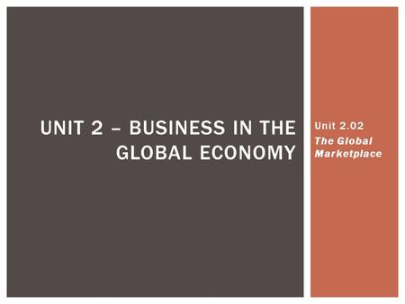 UNIT 2 – BUSINESS IN THE GLOBAL ECONOMY Unit 2.02 The Global Marketplace.