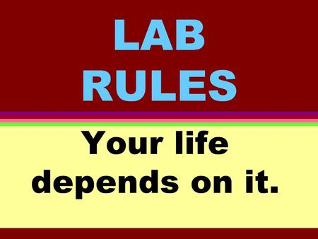LAB RULES Your life depends on it.. Rule # 1 Wear safety goggles at all times.