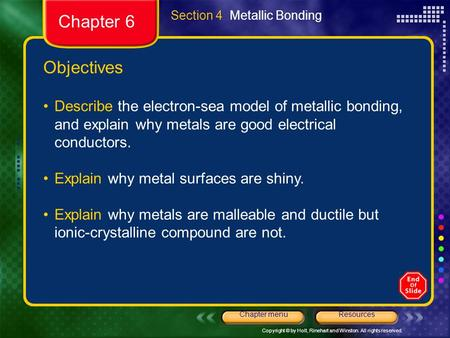Section 4  Metallic Bonding