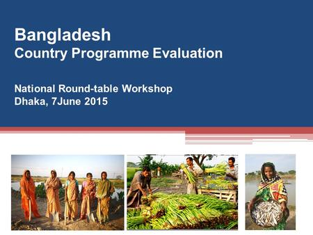 Bangladesh Country Programme Evaluation National Round-table Workshop Dhaka, 7June 2015.