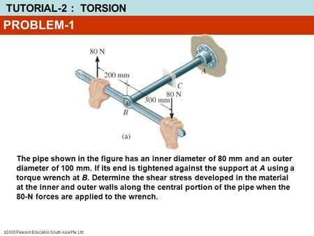 PROBLEM-1 The pipe shown in the figure has an inner diameter of 80 mm and an outer diameter of 100 mm. If its end is tightened against the support at A.