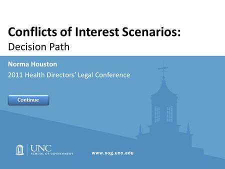 Conflicts of Interest Scenarios: Decision Path Norma Houston 2011 Health Directors' Legal Conference Continue.