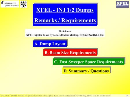 XFEL-INJ1/2 DUMPS Remarks / Requirements, Injector Beam Dynamic Review Meeting, DESY, Mon. 23. October 2006 ‹#› XFEL - INJ 1/2.