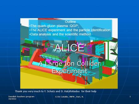 Swedish teachers program 10/2012 1 ALICE A Large Ion Collider Experiment Outline The quark-gluon plasma :QGP; The ALICE experiment and the particle identification;
