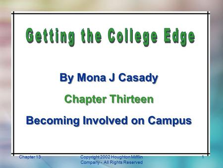 Chapter 13Copyright 2002 Houghton Mifflin Company - All Rights Reserved 1 By Mona J Casady Chapter Thirteen Becoming Involved on Campus By Mona J Casady.