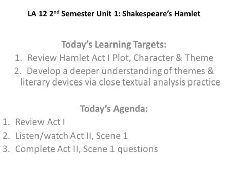 the development of the plot in shakespeares hamlet