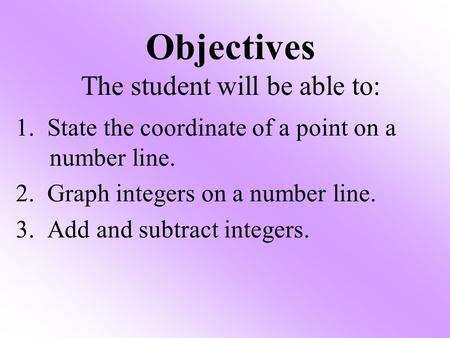Objectives The student will be able to: 1. State the coordinate of a point on a number line. 2. Graph integers on a number line. 3. Add and subtract integers.