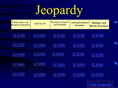 Jeopardy Whole Number and Decimal Computation GCF/LCM Distributive Property and Divisibility Add and Subtract Fractions Multiply and Divide Fractions.