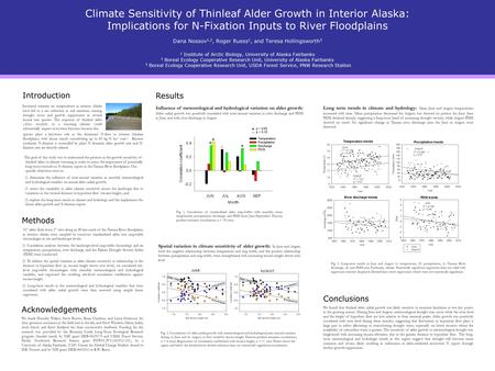 Climate Sensitivity of Thinleaf Alder Growth in Interior Alaska: Implications for N-Fixation Inputs to River Floodplains Dana Nossov 1,2, Roger Ruess 1,