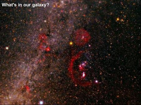 What's in our galaxy?. Emission Nebulae Spectra consist of emission lines Are hot, ionised hydrogen plasma (plus a few other elements) where stars are.