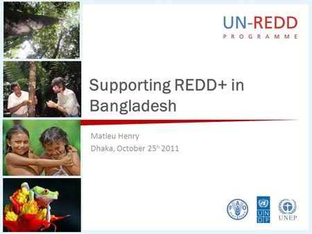 Supporting REDD+ in Bangladesh Matieu Henry Dhaka, October 25 h 2011.