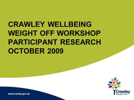 CRAWLEY WELLBEING WEIGHT OFF WORKSHOP PARTICIPANT RESEARCH OCTOBER 2009 www.crawley.gov.uk.