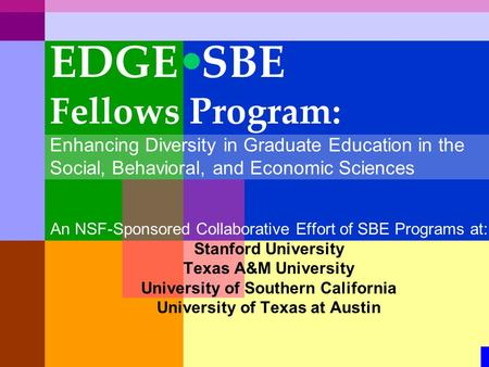 An NSF-Sponsored Collaborative Effort of SBE Programs at: Stanford University Texas A&M University University of Southern California University of Texas.