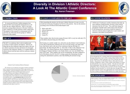 Diversity in Division I Athletic Directors: A Look At The Atlantic Coast Conference By: Aaron Freeman In recent years Division I athletic programs have.