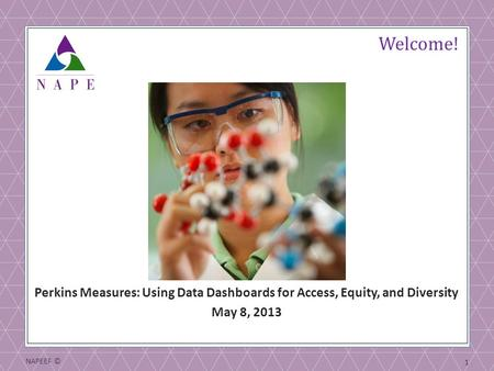 NAPEEF © 1 Welcome! Perkins Measures: Using Data Dashboards for Access, Equity, and Diversity May 8, 2013.