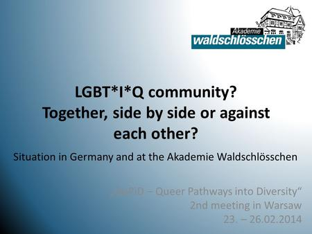 "LGBT*I*Q community? Together, side by side or against each other? ""QuPiD – Queer Pathways into Diversity"" 2nd meeting in Warsaw 23. – 26.02.2014 Situation."