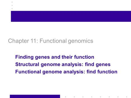 1 Chapter 11: Functional genomics Finding genes and their function Structural genome analysis: find genes Functional genome analysis: find function.