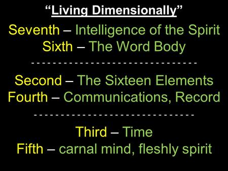 """Living Dimensionally"" Seventh – Intelligence of the Spirit Sixth – The Word Body - - - - - - - - - - - - - - - - - - - - - - - - - - - - - - - Second."