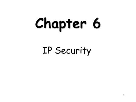 1 Chapter 6 IP Security. 2 Outline Internetworking and Internet Protocols (Appendix 6A) IP Security Overview IP Security Architecture Authentication Header.