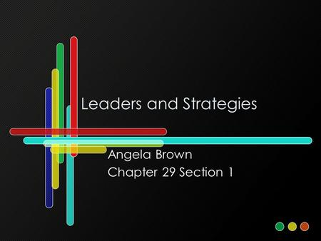 Leaders and Strategies Angela Brown Chapter 29 Section 1.