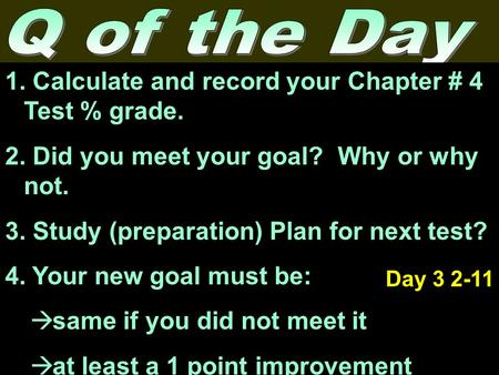 1. Calculate and record your Chapter # 4 Test % grade. 2. Did you meet your goal? Why or why not. 3. Study (preparation) Plan for next test? 4. Your new.