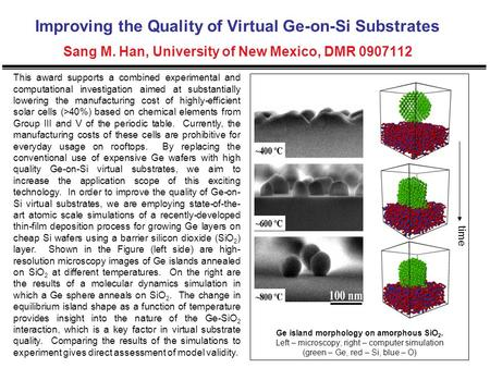 Improving the Quality of Virtual Ge-on-Si Substrates Sang M. Han, University of New Mexico, DMR 0907112 This award supports a combined experimental and.