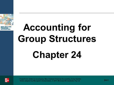 Accounting for Group Structures Chapter 24 24-1 PowerPoint slides to accompany New Zealand Financial Accounting 5e by Samkin Slides adapted by Murugesh.
