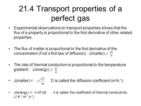 21.4 Transport properties of a perfect gas