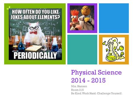 + Physical Science 2014 - 2015 Mrs. Hansen Room 315 Be Kind. Work Hard. Challenge Yourself.