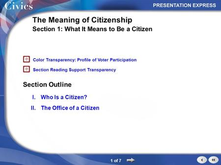 Section Outline 1 of 7 The Meaning of Citizenship Section 1: What It Means to Be a Citizen I.Who Is a Citizen? II.The Office of a Citizen Color Transparency: