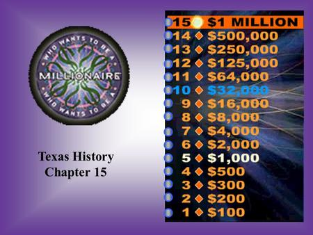 Texas History Chapter 15 A:B: 60,0006,000 #1 How many Texans served in the Confederate Army? C:D: 10,000100,000.