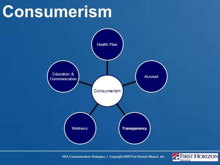 Consumerism HSA Communication Strategies | Copyright 2009 First Horizon Msaver, Inc.