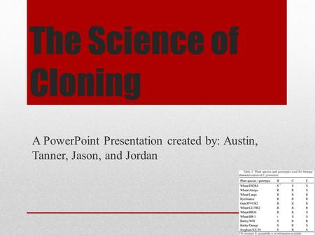 The Science of Cloning A PowerPoint Presentation created by: Austin, Tanner, Jason, and Jordan.