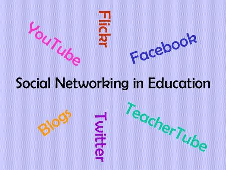 Social Networking in Education YouTube Flickr Blogs Facebook Twitter TeacherTube.